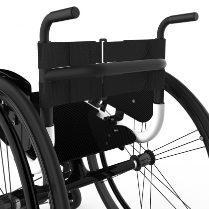 Pair of adjustable push handles - black matte painted aluminum